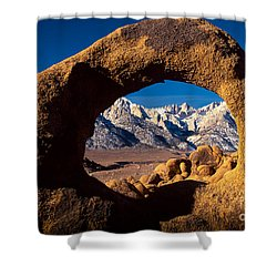 Whitney Portal Shower Curtain by Inge Johnsson