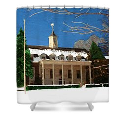 Whittle Hall In The Winter Shower Curtain