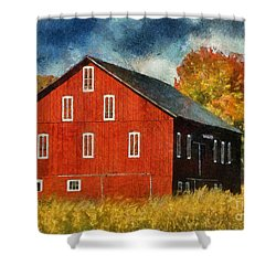 Why Do They Paint Barns Red? Shower Curtain by Lois Bryan