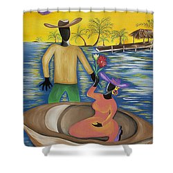 Why The Moon Smiles Shower Curtain by Patricia Sabree