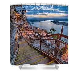 Wide Angle View Of The Oasis And Lake Travis - Austin Texas Shower Curtain