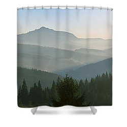 Wide Panorama With Mountains At Sunset In Late November Shower Curtain
