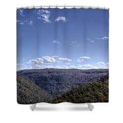 Wide Shot Of Tree Covered Hills Shower Curtain