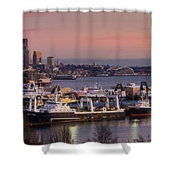 Wider Seattle Skyline And Rainier At Sunset From Magnolia Shower Curtain by Mike Reid