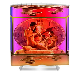 Wifes Clock Shower Curtain by Helmut Rottler