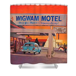 Shower Curtain featuring the painting Wigwam Motel by Art James West