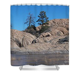 Willow Lake Number One Color Shower Curtain by Heather Kirk