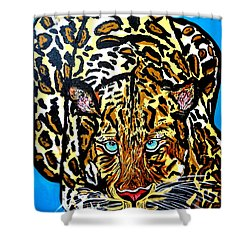 Shower Curtain featuring the painting Wild Cat by Nora Shepley