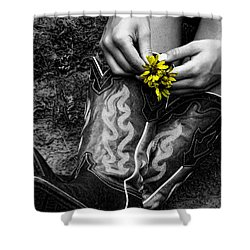 Wild Flower Boots Shower Curtain by Kristie  Bonnewell