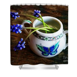 Wild Flowers In Sugar Bowl Shower Curtain by Lainie Wrightson