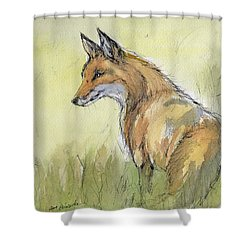 Wild Fox Watercolor Painting Shower Curtain by Angel  Tarantella