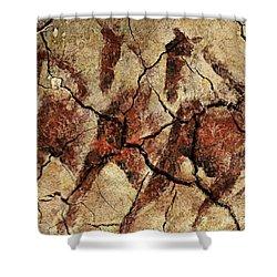 Wild Horses - Cave Art Shower Curtain by Dragica  Micki Fortuna