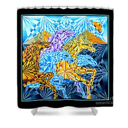 Shower Curtain featuring the painting Wild Horses Running by Joseph J Stevens