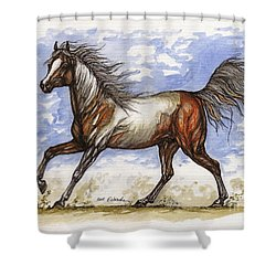 Wild Mustang Shower Curtain by Angel  Tarantella
