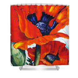 Wild Poppies - Floral Art By Betty Cummings Shower Curtain by Sharon Cummings