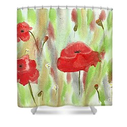 Wild Poppies Shower Curtain by Tracey Williams