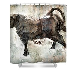 Wild Raging Bull Shower Curtain by Daniel Hagerman