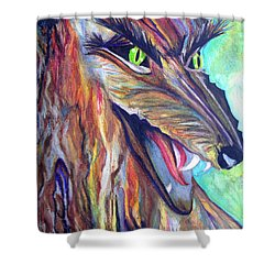 Shower Curtain featuring the drawing Wild Wolf by Daniel Janda