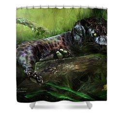 Wildeyes - Panther Shower Curtain by Carol Cavalaris