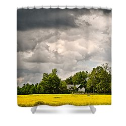 Shower Curtain featuring the photograph Wildflower Field Farmhouse 2 by Greg Jackson