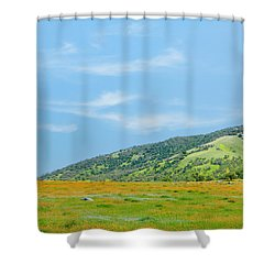Afternoon Delight - Wildflowers And Cirrus Clouds - Spring In Central California Shower Curtain