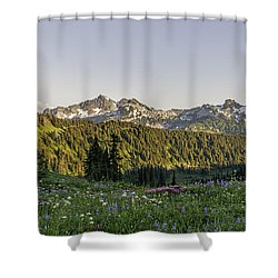 Wildflowers And The Tatoosh Range Shower Curtain
