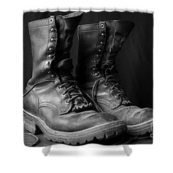 Wildland Fire Boots Still Life Shower Curtain by Kerri Mortenson