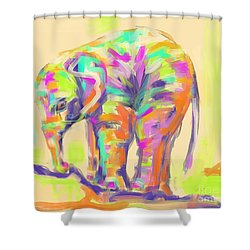Wildlife Baby Elephant Shower Curtain by Go Van Kampen