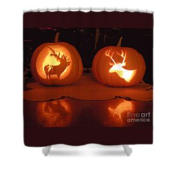 Wildlife Halloween Pumpkin Carving Shower Curtain