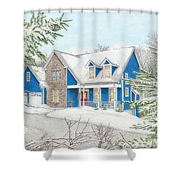Shower Curtain featuring the painting Wiley House by Albert Puskaric