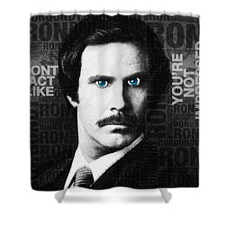 Will Ferrell Anchorman The Legend Of Ron Burgundy Words Black And White Shower Curtain by Tony Rubino