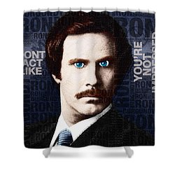 Will Ferrell Anchorman The Legend Of Ron Burgundy Words Color Shower Curtain by Tony Rubino