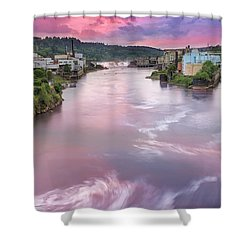 Willamette Falls During Sunset Shower Curtain by David Gn