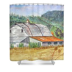Shower Curtain featuring the painting Willamette Valley Barn by Carol Flagg