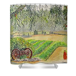 Shower Curtain featuring the painting Willamette Valley Winery by Carol Flagg