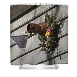 Williamsburg Bird Bottle 1 Shower Curtain by Teresa Mucha