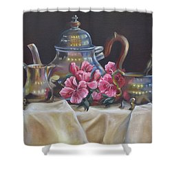 Shower Curtain featuring the painting Williamsburg Stieff Tea Set by Phyllis Beiser