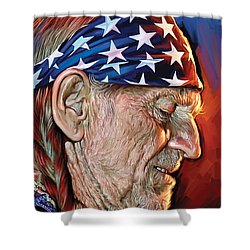 Shower Curtain featuring the painting Willie Nelson Artwork by Sheraz A
