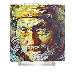 Willie Nelson-funny How Time Slips Away Shower Curtain by Joshua Morton