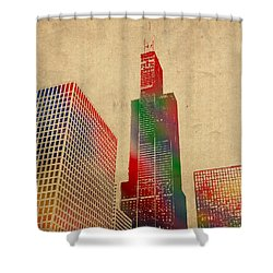 Willis Sears Tower Chicago Illinois Watercolor On Worn Canvas Series Shower Curtain by Design Turnpike