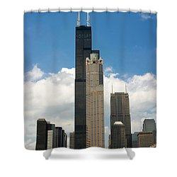 Willis Tower Aka Sears Tower Shower Curtain by Adam Romanowicz