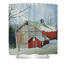 Williston Barn Shower Curtain by Mary Ellen Mueller Legault