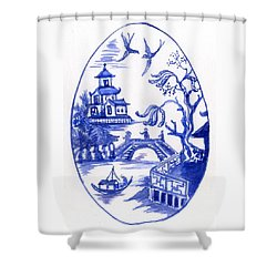 Willow Pattern Egg II Shower Curtain