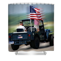 Willy Jeep From The 32nd Air Defense Shower Curtain by Thomas Woolworth
