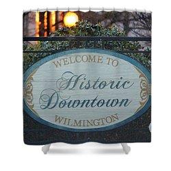 Wilmington Sign Shower Curtain by Cynthia Guinn