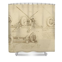 Winch Great Spring Catapult And Ladder From Atlantic Codex Shower Curtain by Leonardo Da Vinci