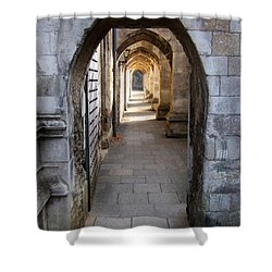 Shower Curtain featuring the photograph Arches - Winchester Cathedral - England by Phil Banks
