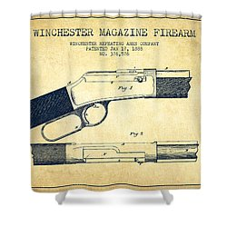 Winchester Firearm Patent Drawing From 1888- Vintage Shower Curtain by Aged Pixel