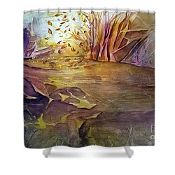 Shower Curtain featuring the painting Wind In Fall by Allison Ashton