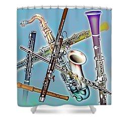 Wind Instruments Shower Curtain by Design Pics Eye Traveller